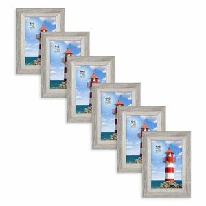 """4""""x6"""" Wooden Photo Frames, Pack of 6, Gray"""